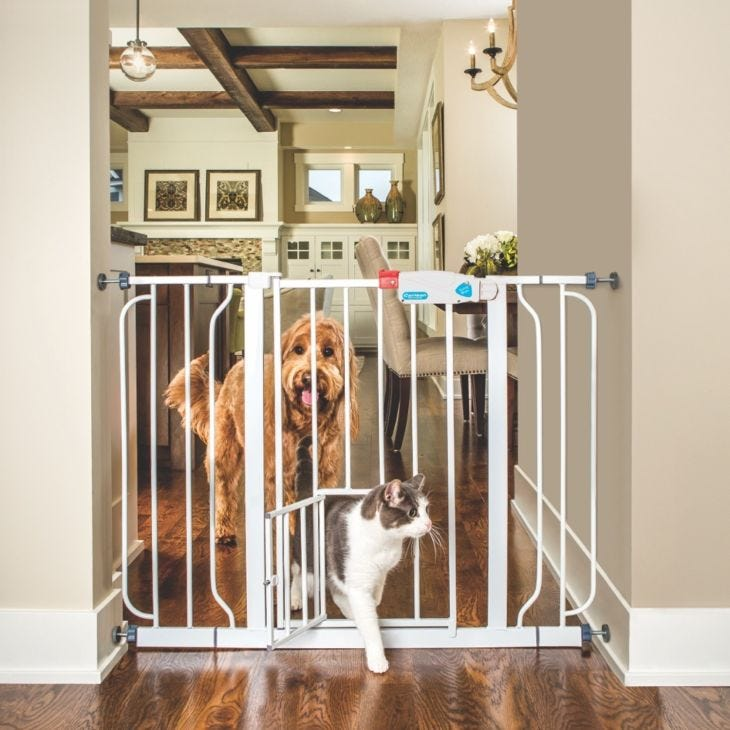 Carlson Pet Gate Extra Wide Walk Through With Small Pet Door, W 74-112 cm x H 77 cm - White