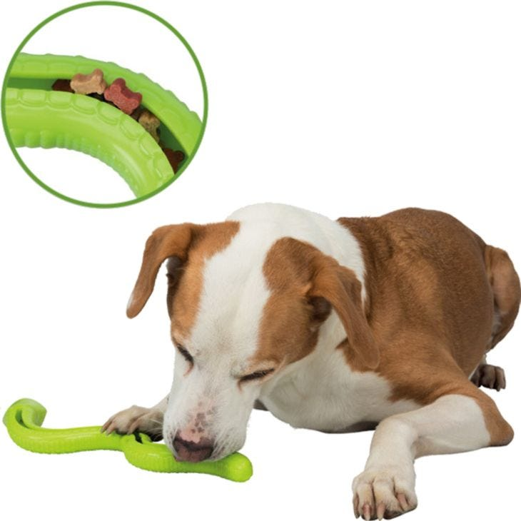 Trixie Dog Activity Snack-Snake TPR With Sound - Strategy & Snack Game
